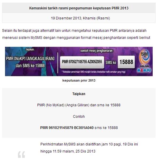 Pengumuman Keputusan PMR 2013
